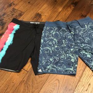 2 Swim Trunks / Board Shorts Size 36
